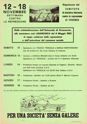 12-18 novembre settimana contro la repressione / Comitato di iniziativa libertaria contro la repressione di Cosenza