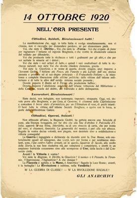 14 ottobre 1920 : nell'ora presente;cittadini, soldati, rivoluzionari tutti!