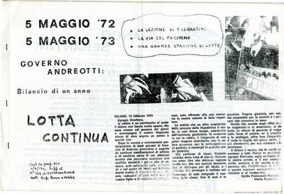 5 maggio '72-5 maggio '73, governo Andreotti : bilancio di un anno / Lotta continua