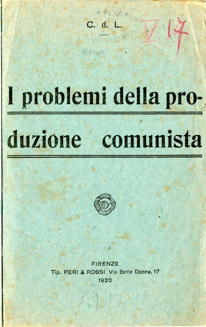 Problemi della produzione comunista, 1920, copertina 1
