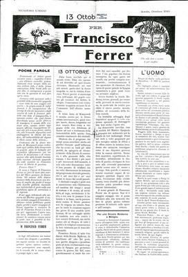 13 ottobre 1910 per Francisco Ferrer : numero unico