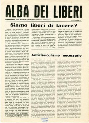 Alba dei liberi : numero unico / a cura di un Gruppo anarchico fiorentino