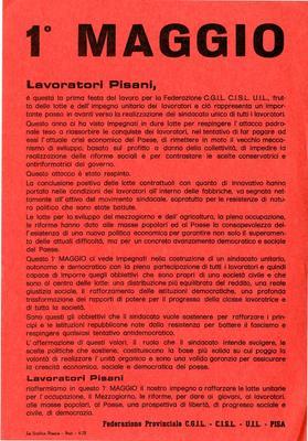 1° maggio : lavoratori pisani [...] / Federazione provinciale CGIL, CISL, UIL Pisa