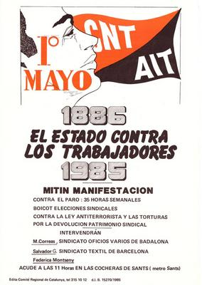 1° mayo : 1886 el estado contra los trabajadores 1985 / CNT AIT