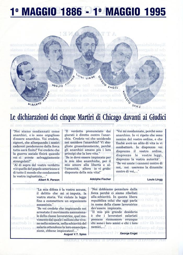 """1° maggio 1886 - 1° maggio 1995 / Gruppo anarchico """"C. e G. Berneri"""", Canosa di Puglia, pag. 1"""