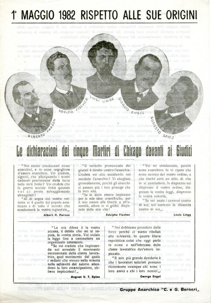 """1° maggio 1982 rispetto alle sue origini / Gruppo anarchico """"C. e G. Berneri"""", Canosa di Puglia, pag. 1"""