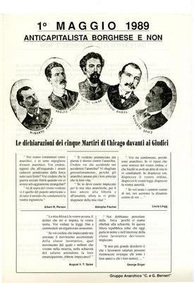 """1° maggio 1989 : anticapitalista borghese e non / Gruppo anarchico """"C. e G. Berneri"""""""