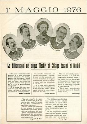 """1° maggio 1976 / Gruppo anarchico """"C. e G. Berneri"""" Canosa, Gruppo anarchico M. Angiolillo Foggia"""