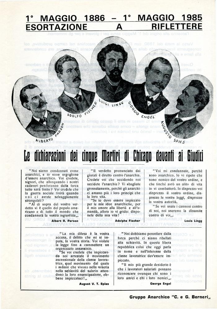 """1° maggio 1886-1° maggio 1985 : esortazione a riflettere / Gruppo anarchico """"C. e G. Berneri"""", Canosa di Puglia, pag. 1"""