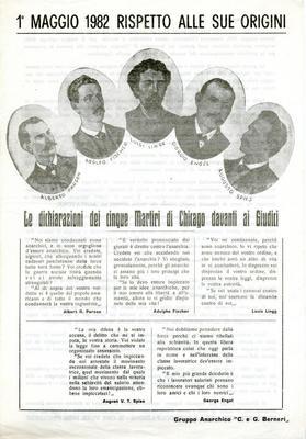 """1° maggio 1982 rispetto alle sue origini / Gruppo anarchico """"C. e G. Berneri"""""""