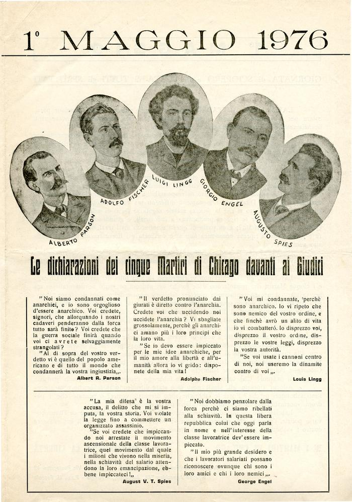 """1° maggio 1976 / Gruppo anarchico """"C. e G. Berneri"""" Canosa, Gruppo anarchico M. Angiolillo Foggia, pag. 1"""