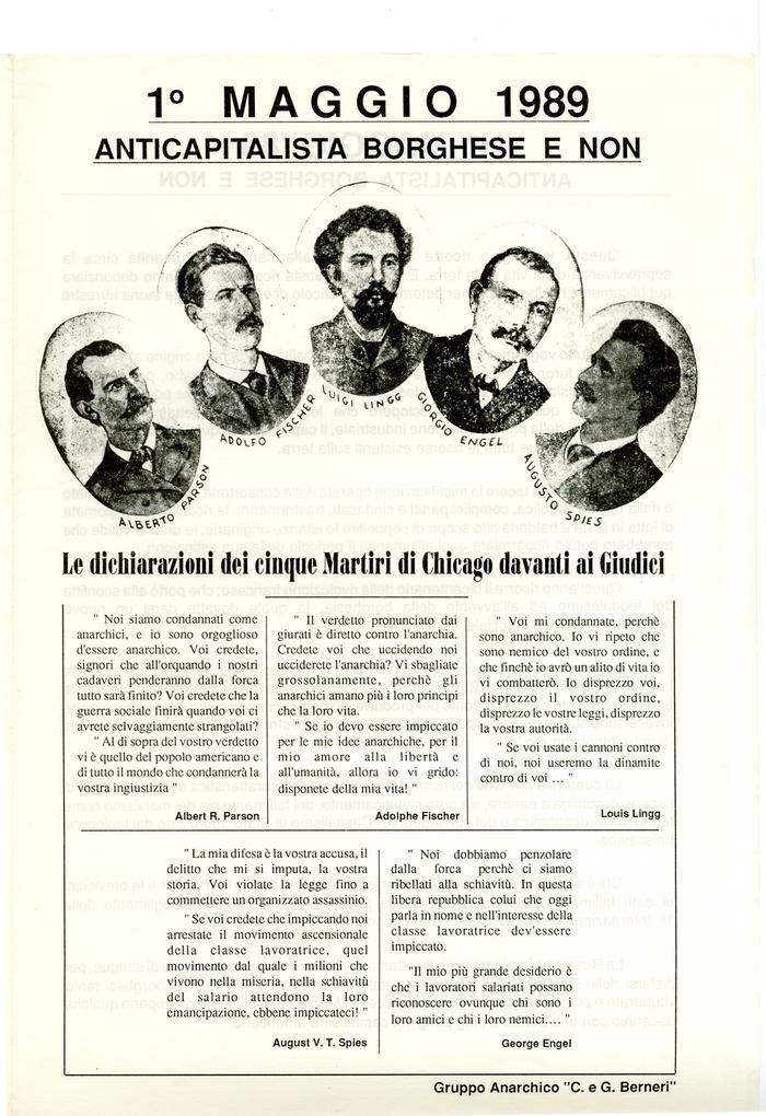 """1° maggio 1989 : anticapitalista borghese e non / Gruppo anarchico """"C. e G. Berneri, Canosa di Puglia, pag. 1"""