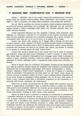 """1° maggio 1886 comparato con 1° maggio 1978 / Gruppo anarchico """"Camillo e Giovanna Berneri"""" Canosa"""