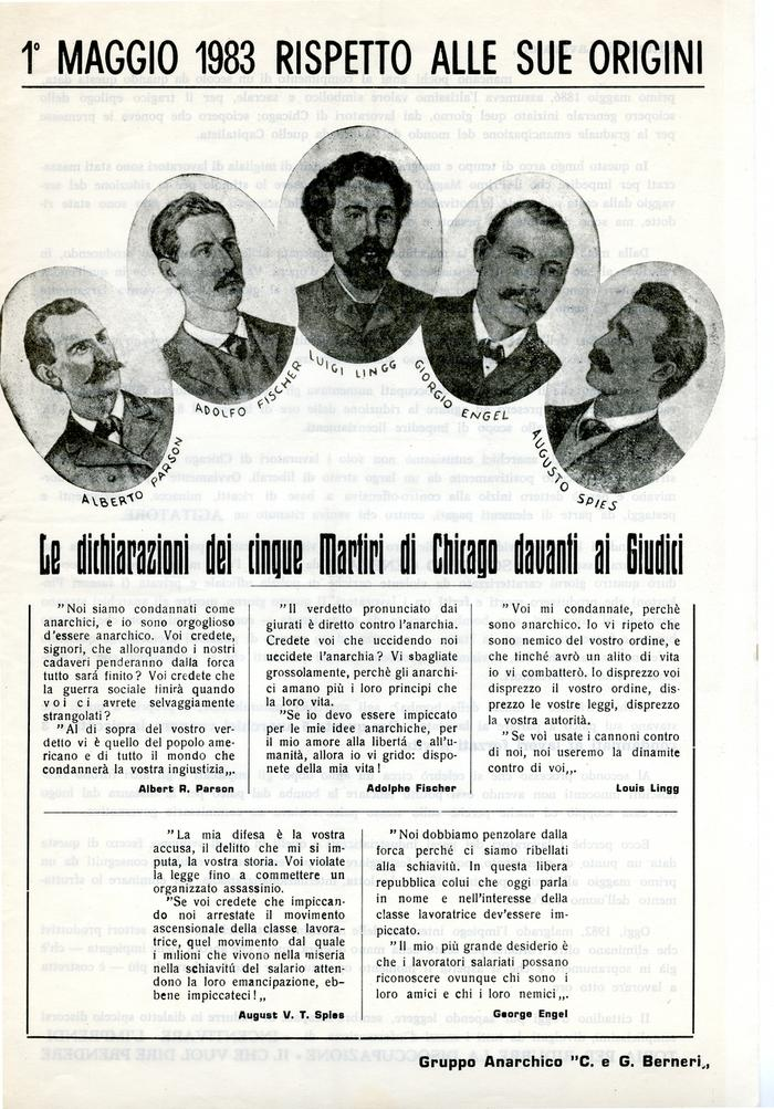 """1° maggio 1983 rispetto alle sue origini / Gruppo anarchico """"C. e G. Berneri"""", Canosa di Puglia, pag. 1"""