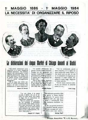 """1° maggio 1886-1° maggio 1984 : la necessità di organizzare il riposo / Gruppo anarchico """"C. e G. Berneri"""""""