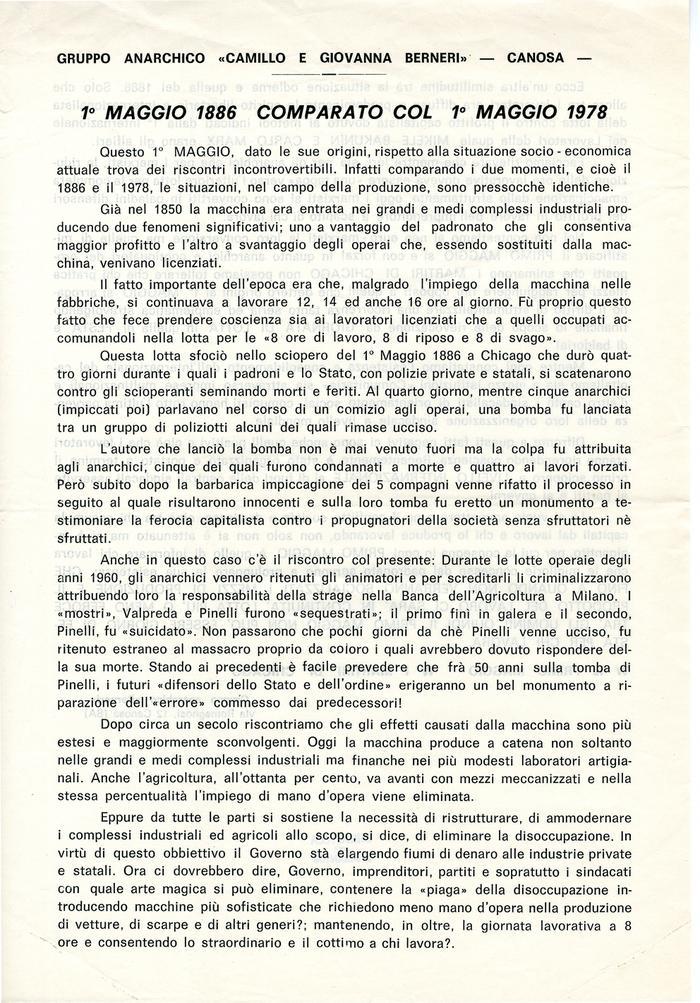 """1° maggio 1886 comparato con 1° maggio 1978 / Gruppo anarchico """"Camillo e Giovanna Berneri"""", Canosa di Puglia, 1978, pag. 1"""