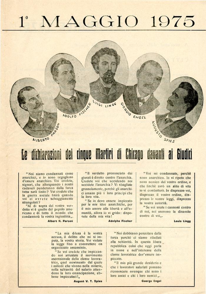 """1° maggio 1975 / Gruppo anarchico """"C. e G. Berneri"""" Canosa, Gruppo anarchico M. Angiolillo Foggia, Gruppo anarchico di Potenza, pag. 1"""