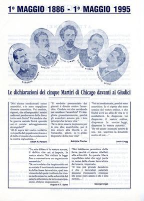 """1° maggio 1886 - 1° maggio 1995 / Gruppo anarchico """"C. e G. Berneri"""" Canosa"""