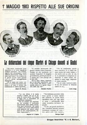 """1° maggio 1983 rispetto alle sue origini / Gruppo anarchico """"C. e G. Berneri"""""""