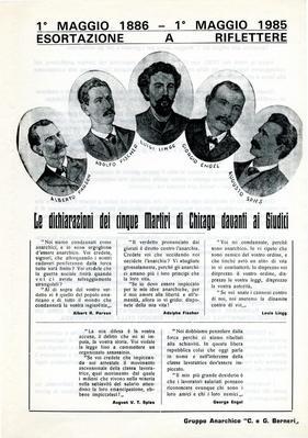 """1° maggio 1886-1° maggio 1985 : esortazione a riflettere / Gruppo anarchico """"C. e G. Berneri"""""""