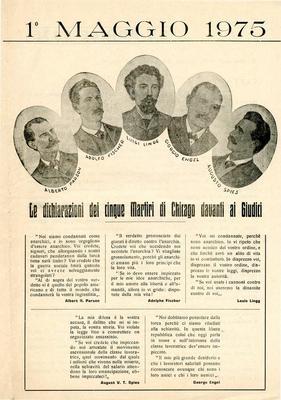 """1° maggio 1975 / Gruppo anarchico """"C. e G. Berneri"""" Canosa, Gruppo anarchico M. Angiolillo Foggia, Gruppo anarchico di Potenza"""