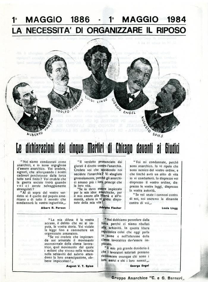 """1° maggio 1886-1° maggio 1984 : la necessità di organizzare il riposo / Gruppo anarchico """"C. e G. Berneri"""", Canosa di Puglia, pag. 1"""