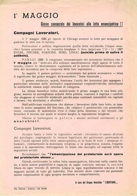 """1° maggio giorno consacrato dai lavoratori alla lotta emancipatrice!! / a cura del Gruppo anarchico """"Libertaria"""""""