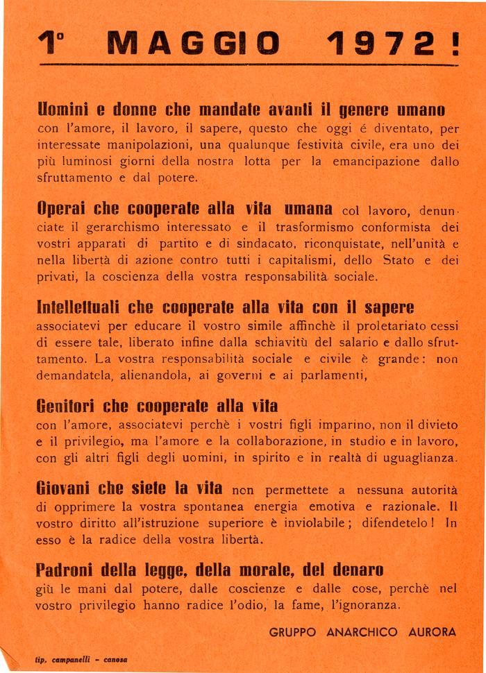1° maggio 1972! / Gruppo anarchico Aurora, Canosa di Puglia
