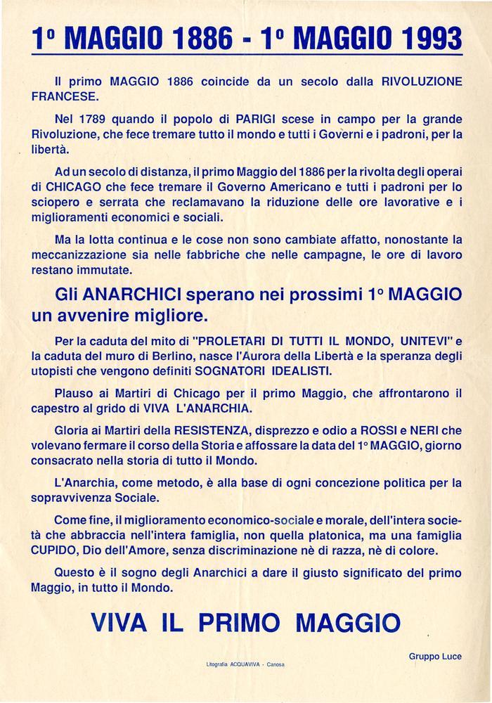 1° maggio 1886 - 1°maggio 1993 / Gruppo Luce, Canosa di Puglia