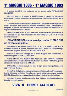1° maggio 1886 - 1°maggio 1993 / Gruppo Luce