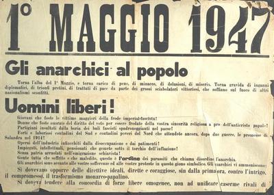 1° maggio 1947 : gli anarchici al popolo